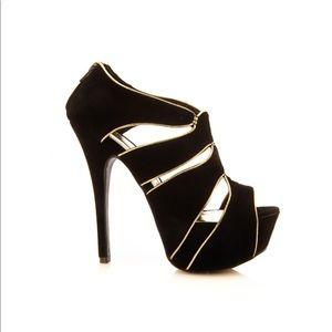 New Women Liliana Black Peep Toe Suede Cutout Heel